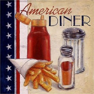 Set of 8 Coasters   American 50s Diner Theme Retro Kitchen Decor