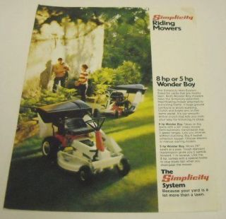 Simplicity c. 1970s Riding Lawn Mowers Sales Brochure