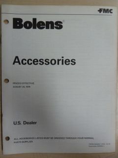 BOLENS 1979 LAWN GARDEN EQUIPMENT TRACTOR ACCESSORIES PRICE MANUAL