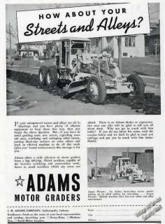 1940 Adams Motor Grader Photos Collectible Vintage Ad