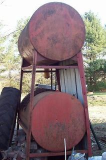 Dual 300 350 gallon fuel storage tanks with stand with fuel pump As IS