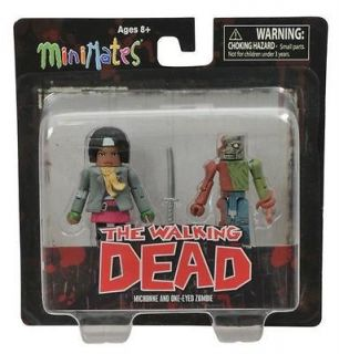 DST Walking Dead Minimates Series 2 Michonne & One Eyed Zombie