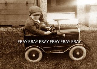 1932 BOY AND HIS FANTASTIC PEDAL CAR WITH WHITE WALL TIRES   PHOTO