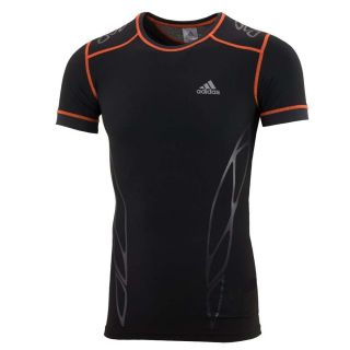 Adidas ClimaLite Mens Black TechFit Short Sleeve Fitted T Shirt