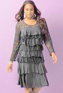 Very Flattering Tiered Illusion Lace Shift Dress Womans Plus Size 5X