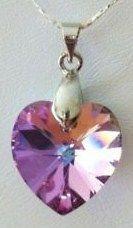 Swarovski Crystal Elements Mother Daughter Heart 2 Necklaces Set 10MM