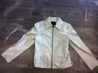Sisley*** *** white leather jacket for women,size S M,well used