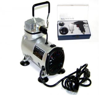 AIR BRUSH COMPRESSOR OIL LESS WITH GRAVITY FEED AIR BRUSH KIT