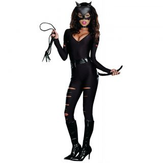 Night Prowler Adult Womens Sexy Catwoman Catsuit Black Cat Halloween
