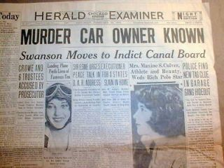 CHICAGO newspaper w Headline ST VALENTINES DAY MASSACRE Al Capone Gang