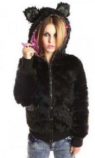 FDW Women New Abbey Dawn Avril Lavigne Midnight Black Fur Hoody Jacket