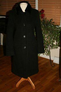 Womens Albert Nipon Size 6 Formal Black Wool Coat FULL Length 100%