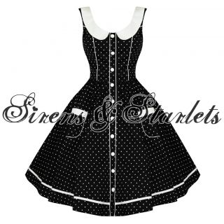 LADIES HELL BUNNY ALAIA BLACK SPOTTY DOTTY 50S ROCKABILLY VTG PROM