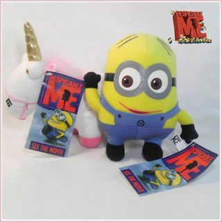 2X Despicable Me Plush Minion Dave & Unicorn Soft Toy Stuffed Animal