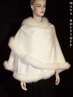 IVORY Cashmere REAL FOX Fur Trim Cape Coat Wrap Stole Shawl Maya