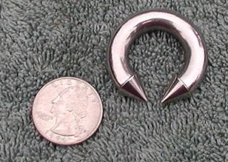 Steel 0 gauge horseshoe ring spike Prince Albert 5/8
