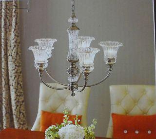 BNIB ALLEN + ROTH 5 LIGHTS CRYSTAL GLASS CHANDELIER W/CHROME FINISH