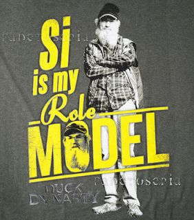 DUCK DYNASTY T SHIRT SI ROBERTSON IS MY ROLE MODEL HEY LOGO CALLS