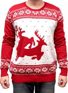 Adult Red White Ugly Christmas Funny Sweater Two Big Humping Reindeer