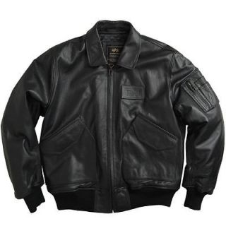 Alpha Industries   CWU 45 Jacket Leather Black   Extra Large