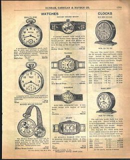 1933 AD Mickey Mouse Watches Wrist Pocket Fob Westclox Alarm Clocks