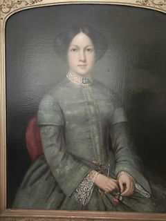 Lifesized Antique Framed Portrait Oil Painting Lady In Green Dress