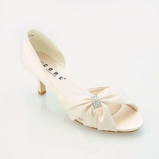LADIES SATIN LOW HEEL WEDDING PROM BRIDAL EVENING SHOES SIZE 3 8 H179