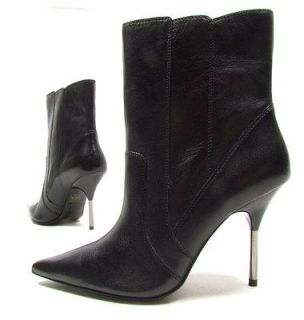 ALDO Hot Metal womens high heels boots metallic leather (black