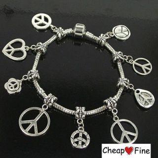 Tibetan Silver Mix Style Love Peace Charms dangle beads DIY European