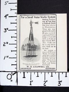1906 W E CALDWELL Steel Windmill Water Pump Storage Tank magazine Ad