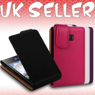 Leather Flip Wallet Case Cover Fits LG Optimus L3 E400 Mobile Phone