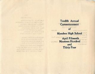 1934 PROGRAM MYNDERS HIGH SCHOOL MAURY COUNTY TENNESSEE COLUMBIA