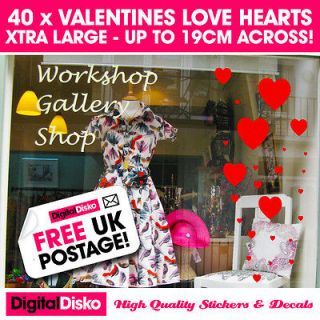 40 x Valentines day heart stickers. Shop Window display, wall, vinyl