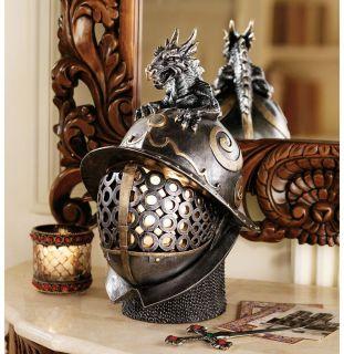 Ferocious Dragon Helmet Medieval Armor Table Lamp Gothic Illuminated