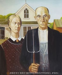 American Gothic by Grant Wood, Reproduction in Oil, 24x20