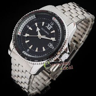 Black Steel Dial Luxury Mechanical Automatic Mens Day Date Wrist Watch