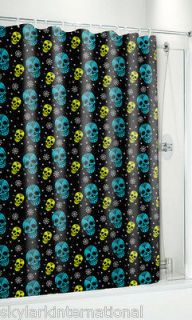 Mexican Sugar Skulls Shower Curtain Black Blue Teal Green Spiderwebs