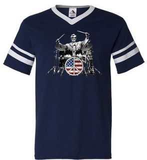 and Roll Drums Retro Ringer T Shirt Tee Abraham Lincoln American Peace