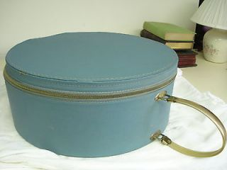 Vintage 1950s Sturdy Stylish Blue Zippered Lined Hat Box Train Travel