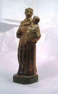 Wonderful Antique Terracotta St. Anthony Catholic Statue G13