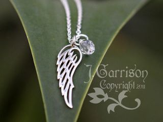 Angel Wing Necklace  Sterling silver charm & birthstone color crystal