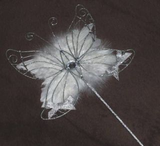 Butterfly Shaped Flower Girl Wand with Feather Guardian Angel Wings