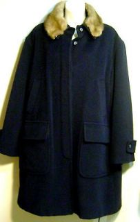ANGORA~Wool~SWING~COAT~New~MINK~COLLAR~Real~Fur~MARELLA~ITALY~M~Blue