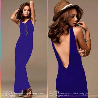 Bohemian pure color Blue womens summer evening long maxi dress SIZE L