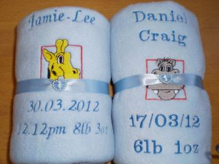 Embroidered Baby Fleece Blanket   Choice of Colours & Zoo Animals