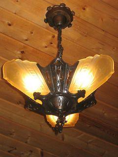 30s Antique Art Deco Bronze Brass satin glass slip shade chandelier