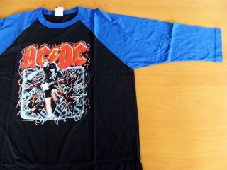 AC/DC Concert Tee Shirt Two Tone Half Sleeves Blue on Black Large NEW