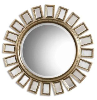 Antique Gold Outer Tile Bold Round Wall Mirror