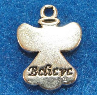 Silver BELIEVE ANGEL Charms Pendants Tibet Jewelry Findings AF46