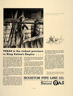 1937 Ad Houston Pipe Line Co. Natural Gas Cotton Texas   ORIGINAL
